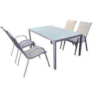 Sada Bergen skleněný stůl + 4 židle šedá